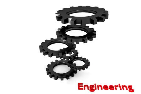 tweak: tower of red colored metallic cogwheels hovering engineering illustration