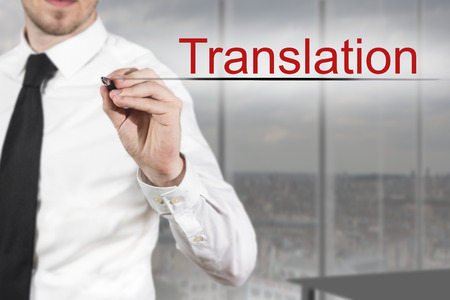 businessman in office writing in the air translation