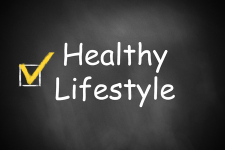 marked: checkbox marked healthy lifestyle on black chalkboard