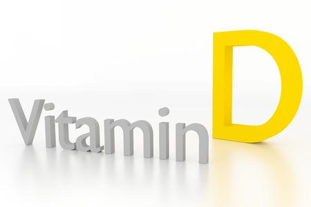 Vitamin-D-3D-Darstellung auf weiß glänzenden Oberfläche Standard-Bild - 39430432