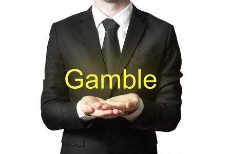 gamble: businessman in black suit begging gesture gamble isolated