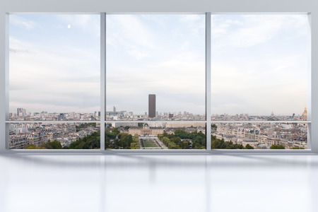 3d apartment: large clean designer office window to skyline illustration