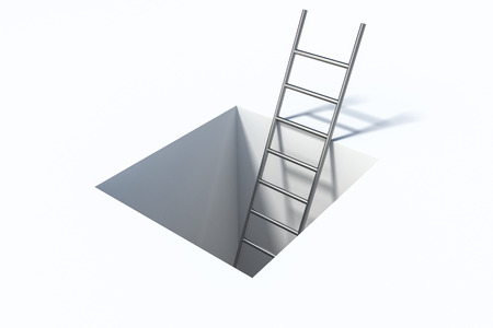 Ladder in square hole over white surface 3d illustration help