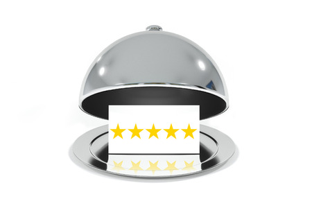 five stars: opened silver cloche with white sign five stars rating isolated