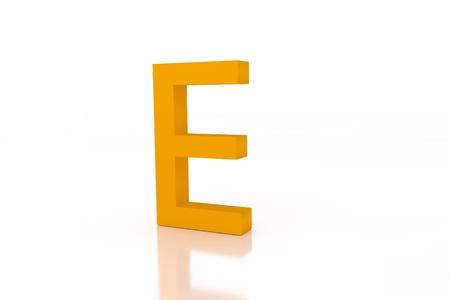 e white: e letter green energy efficiency label on white surface