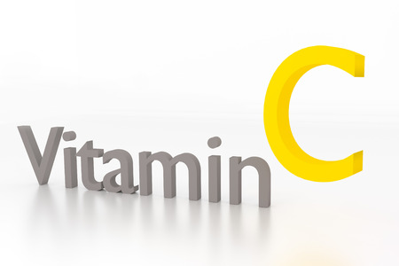 vitamin c: vitamin c 3d illustration on white glossy surface