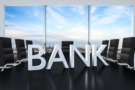 international bank account number: white bank  standing on office conference desk skyline illustration