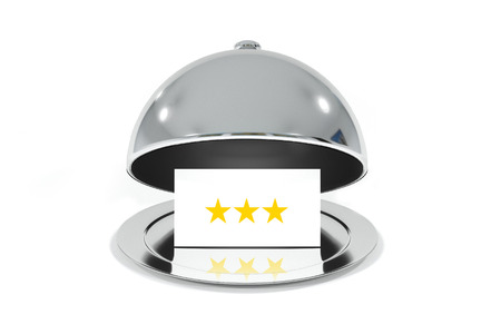 roomservice: opened silver cloche with white sign three stars rating isolated