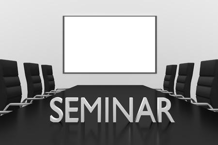seminar: seminar logo standing on desk conference room whiteboard illustration