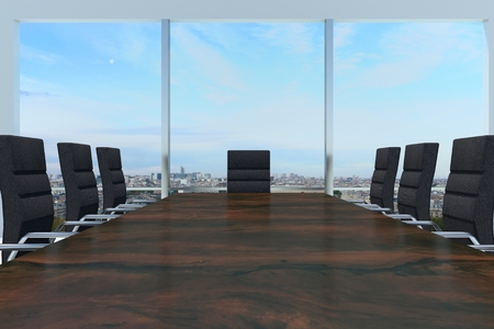 large conference room with large wooden desk and skyline window