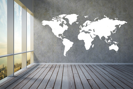 floorboard: apartment view on city skyline worldmap painted on wall illustration