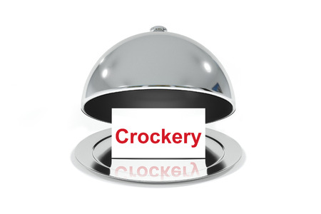 crockery: opened silver cloche with white sign crockery isolated Stock Photo
