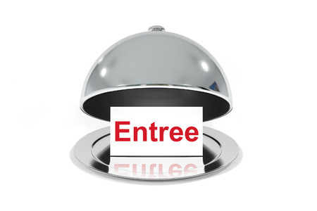 entree: opened silver cloche with white sign entree isolated