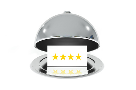 roomservice: opened silver cloche with white sign four stars rating isolated