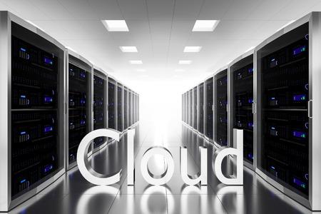 renderfarm: large server room datacenter cloud symbol 3d illustration