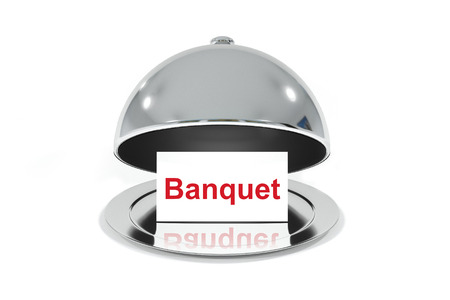 banquet: opened silver cloche with white sign banquet isolated Stock Photo