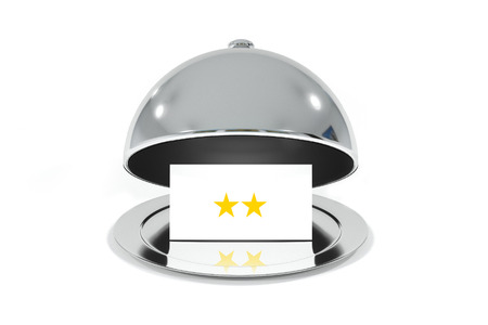 roomservice: opened silver cloche with white sign two stars rating isolated
