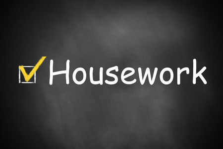 household tasks: checkbox checked housework on black chalkboard
