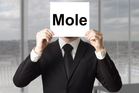 conspire: businessman in office hiding face behind sign mole