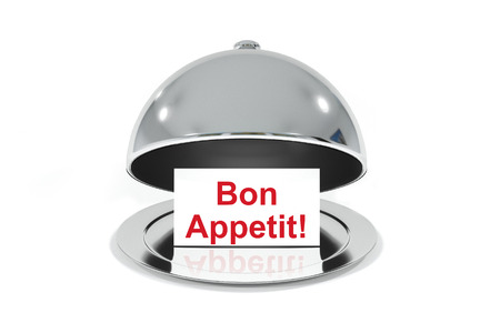 bon: opened silver cloche with white sign bon appetit isolated Stock Photo
