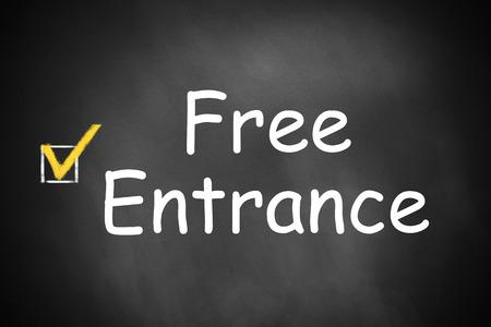 checked: black chalkboard free entrance checkbox checked Stock Photo