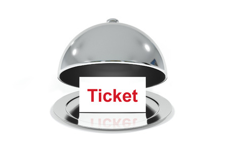 opened silver cloche with white sign ticket