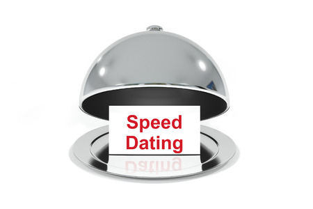Blind Date: opened silver cloche with white sign speed dating
