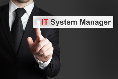 webserver: businessman in office pushing touchscreen button it system manager