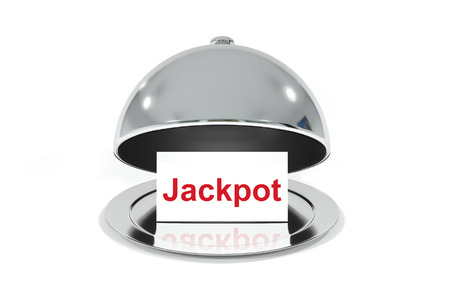 jackpot: opened silver cloche with white sign jackpot Stock Photo