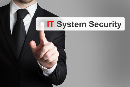 webserver: businessman pushing flat touchscreen button it system security