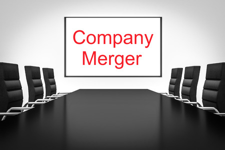 company merger: conference meeting room with whiteboard company merger