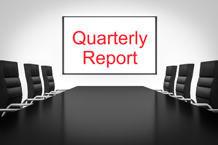 quarterly: conference meeting room with large whiteboard quarterly report