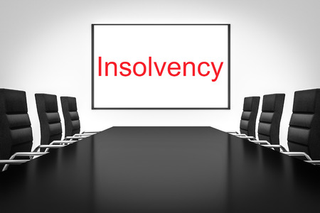 insolvency: conference meeting room with whiteboard insolvency