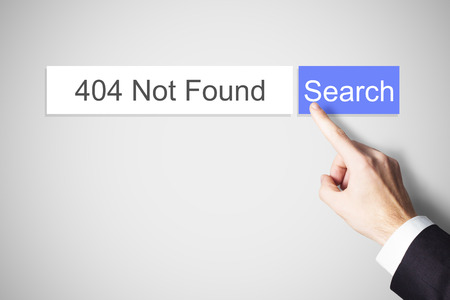 error message: finger pushing web search button 404 not found error message Stock Photo
