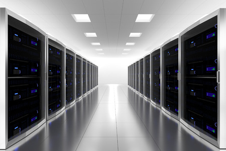 large server room datacenter cloud symbol 3d illustration