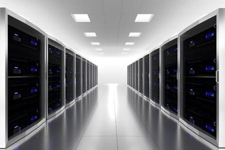 server rack: large server room datacenter cloud symbol 3d illustration