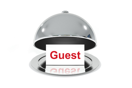 prominence: open silver cloche with white sign guest Stock Photo