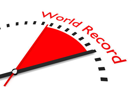 world record: clock with red seconds hand area world record 3d illustration