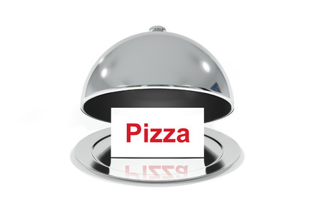 open silver cloche with white small sign pizza
