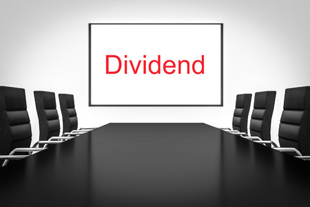 dividend: conference meeting room with whiteboard dividend Stock Photo