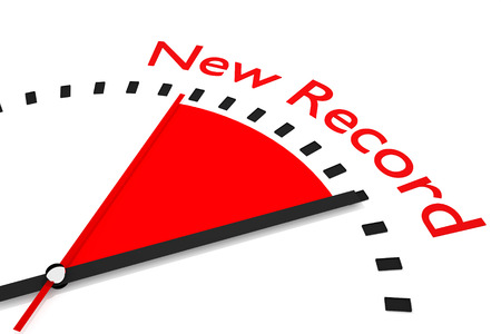 seconds: clock with red seconds hand area new record 3d illustration