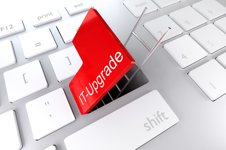 operating key: keyboard with red enter button open revealing underpass and ladder IT upgrade illustration Stock Photo