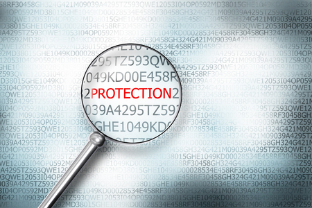 sourcecode: reading protection on digital computer screen with a magnifying glass internet security
