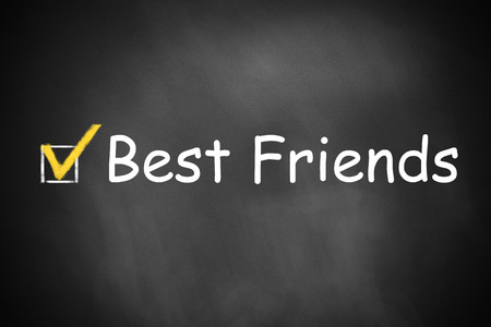 checkbox: black chalkboard with checkbox checked best friends