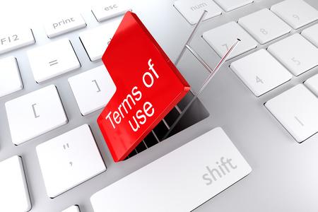 컴퓨터 키보드와 빨간색 입력 키 해치 지하도 사다리 사용 약관