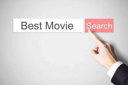 best ad: businessmans finger pushing flat search browser button best movie