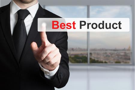preorder: businessman pushing flat touchscreen button best product advertisement