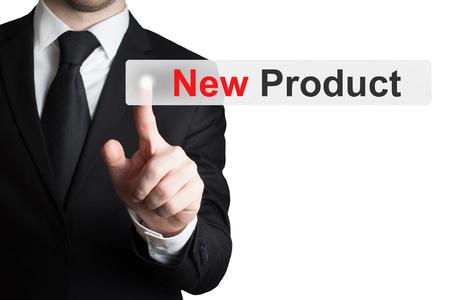 businessman pushing flat touchscreen button new product advertisement