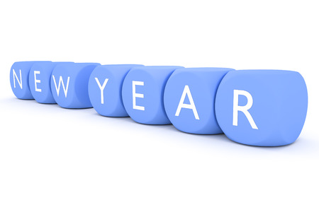 wishlist: light blue dices in a row new year 3d illustration Stock Photo