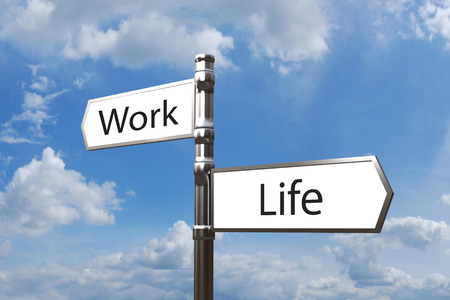 life balance: metal signpost work life balance with opposite directions 3d illustration